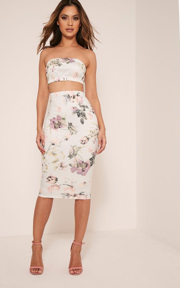 Lisette Mint Floral Print Midi Skirt 1