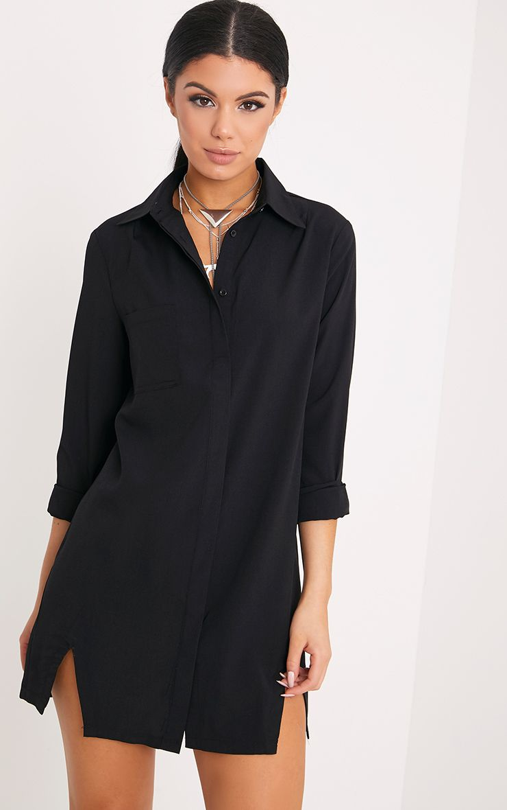 Bronte Black Split Detail Shirt Dress
