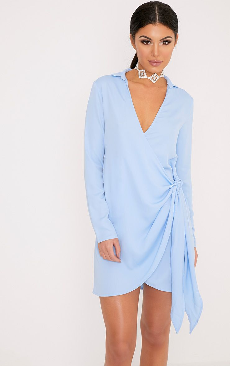 Shaylene Dusty Blue Tie Side Satin Shirt Dress