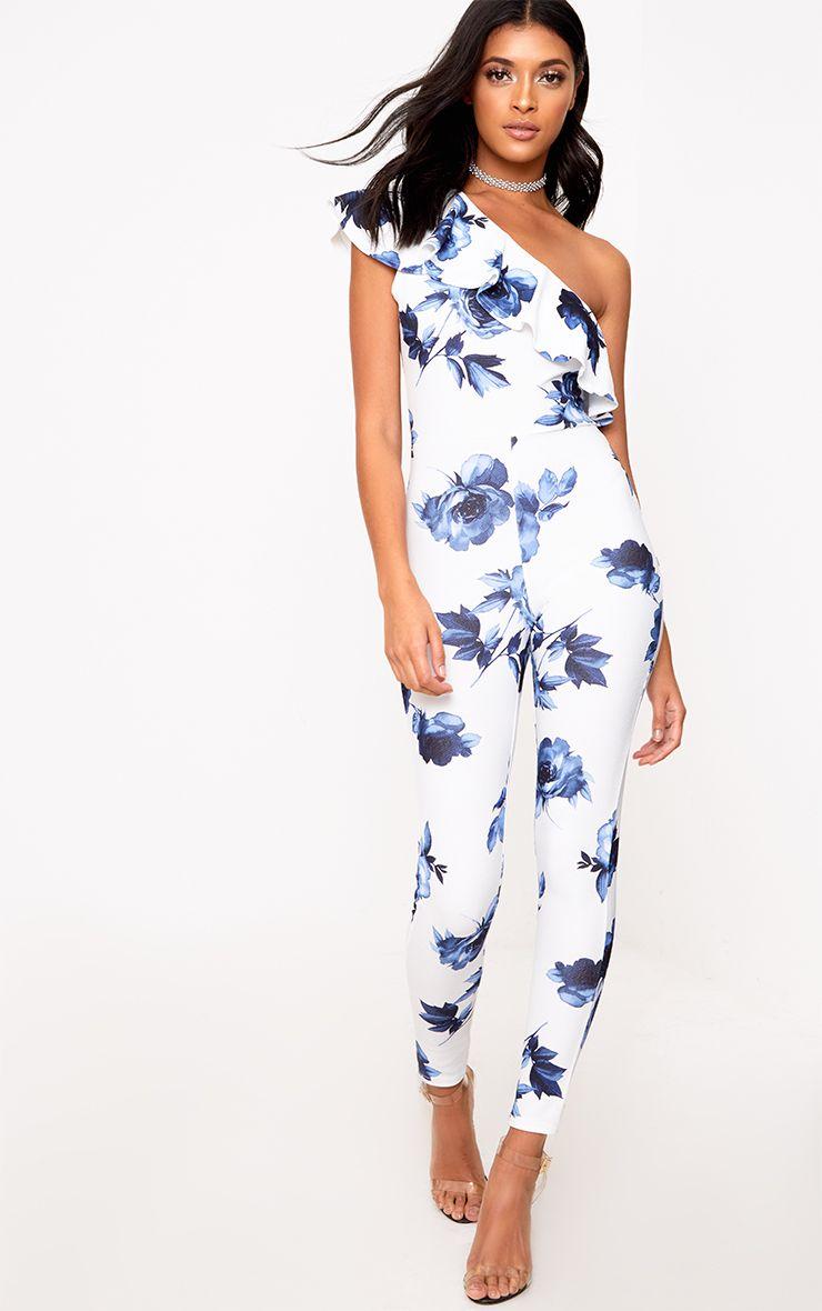 White/Blue Floral One Shoulder Jumpsuit