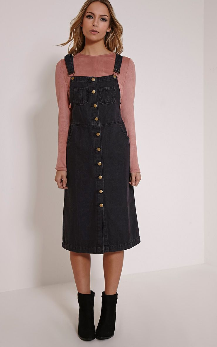 Dolly Black Denim Button Front Pinafore Dress 1