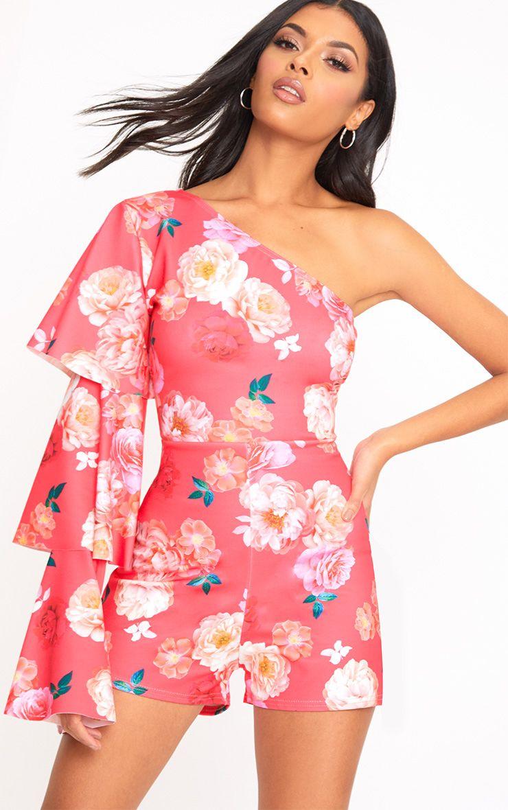 Combishort rose une manche à volants et imprimé floral