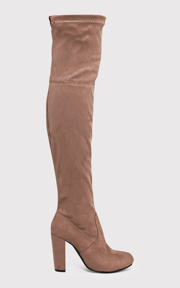 Bess Mocha Faux Suede Heel Thigh Boots