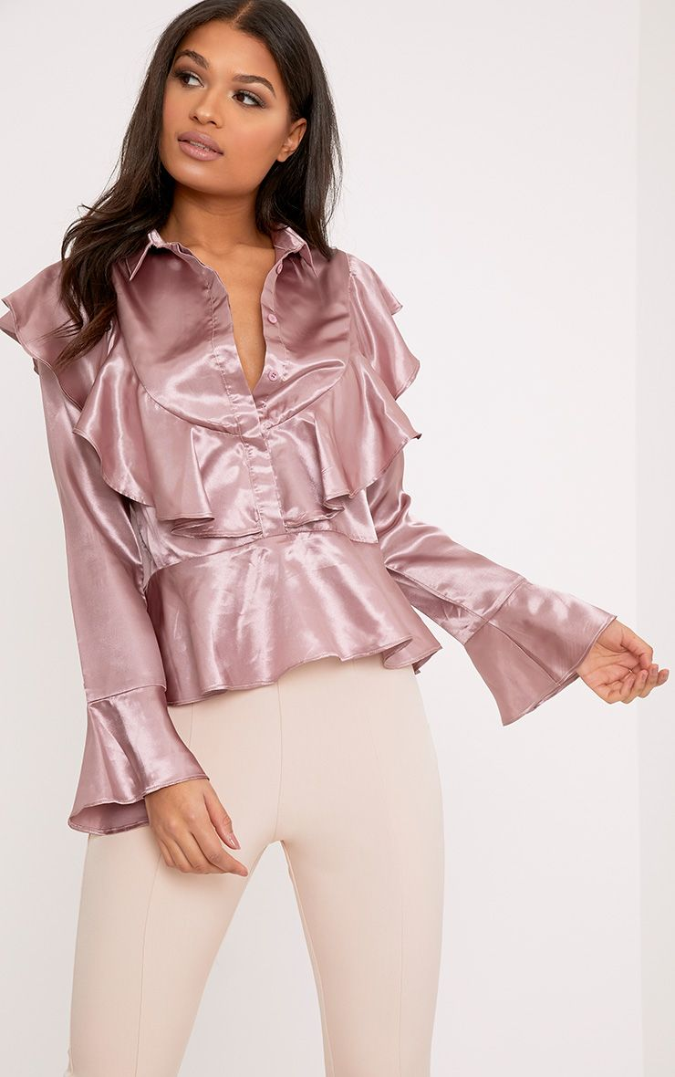 Courtney Mauve Satin Frill Longsleeve Blouse