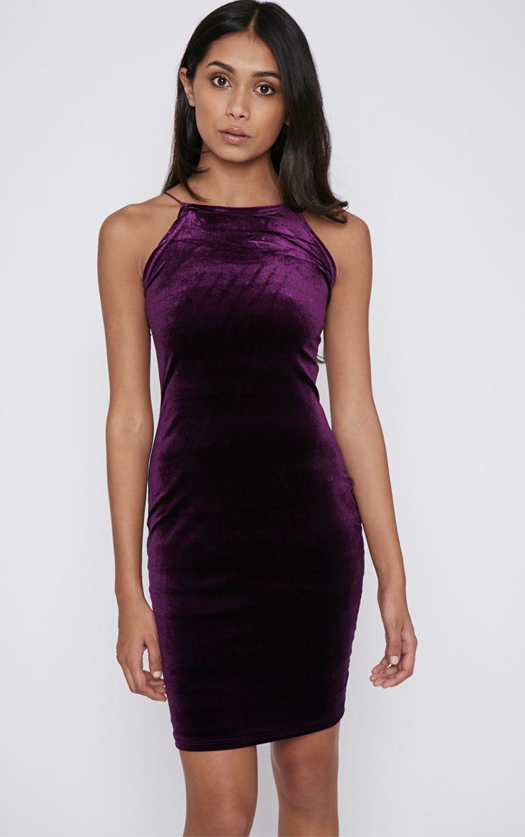 Elektra Purple Velvet Mini Dress 1