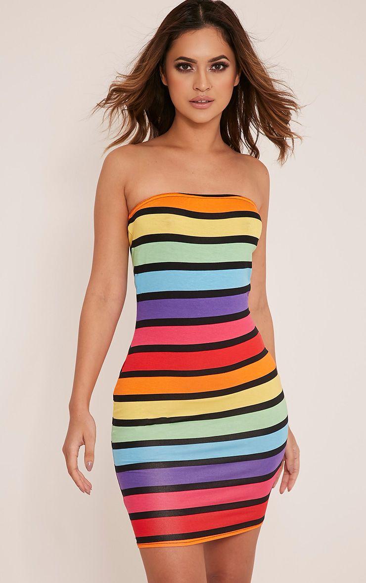 Trissy Multi Stripe Bodycon Dress 1