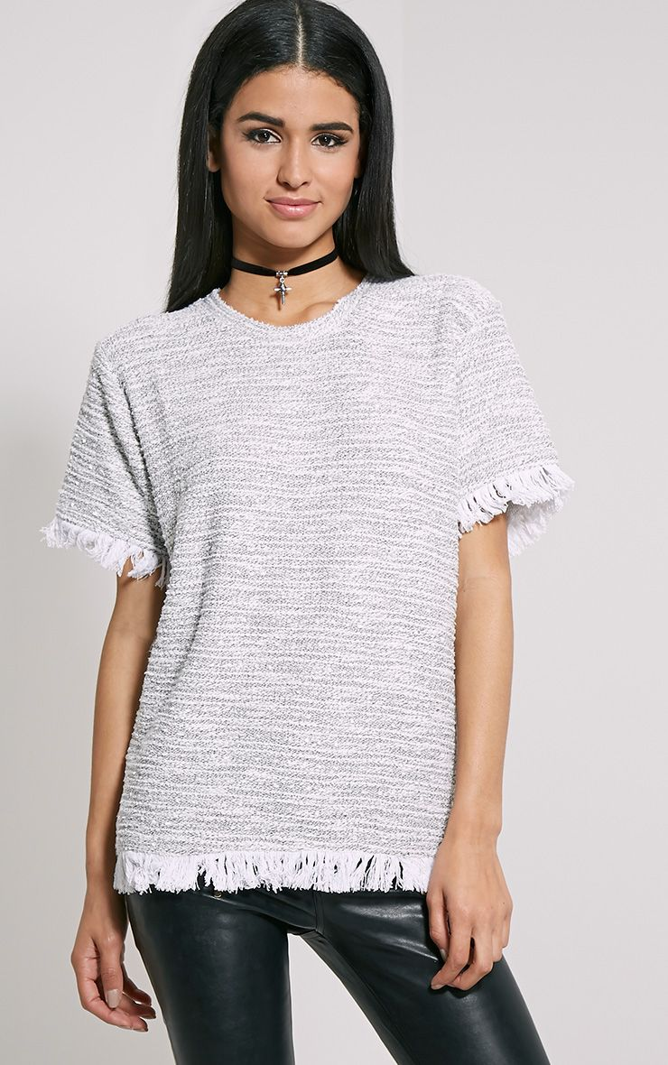 Briona Cream Knitted Tassel T-Shirt 1