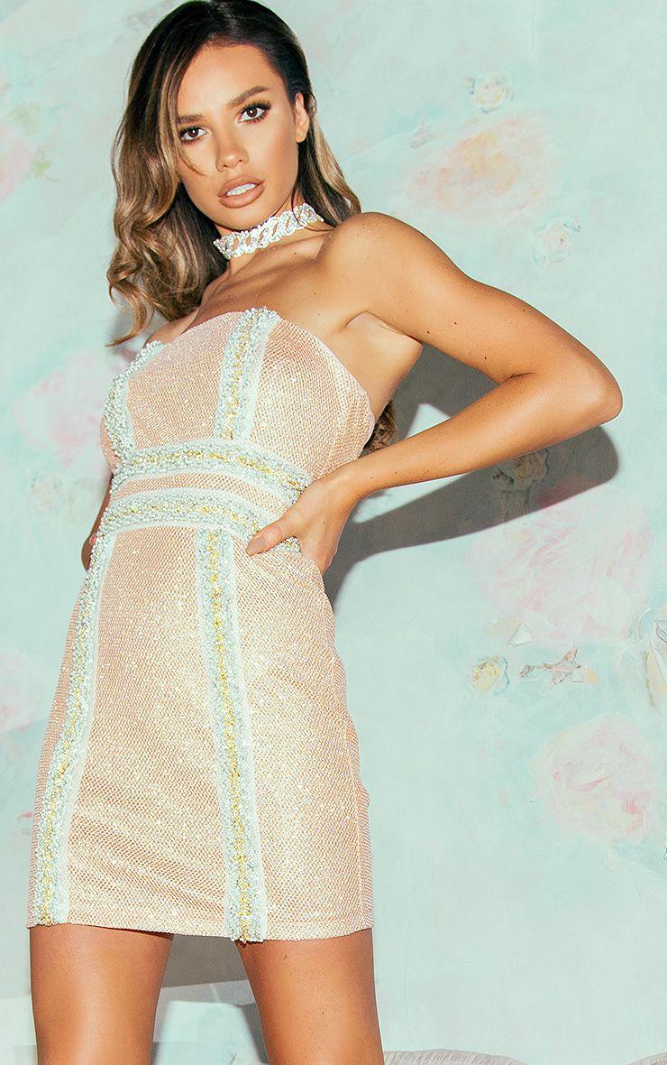 Milania Rose Gold Premium Embellished Bandeau Bodycon Dress
