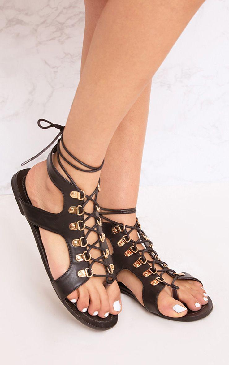 Nerina sandales spartiates à lacets noires