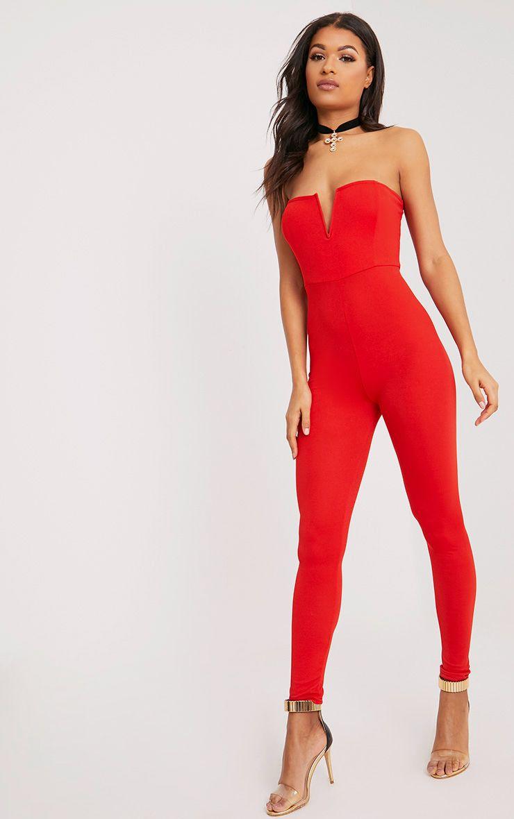 Leoni Red Crepe Bardot Jumpsuit