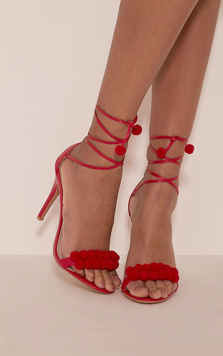 Karia Red Pom Pom Heeled Sandals