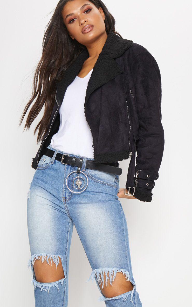 Black Cropped Aviator Jacket