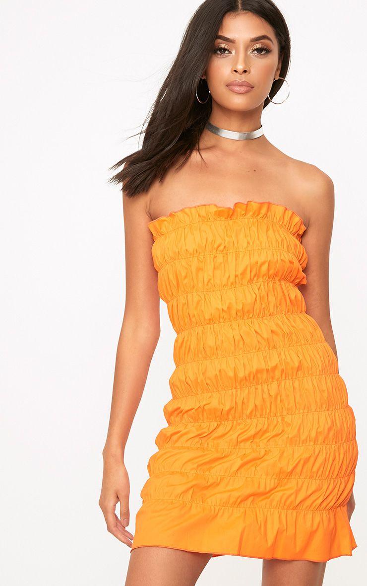Bright Orange Cotton Ruched Bodycon Dress 1