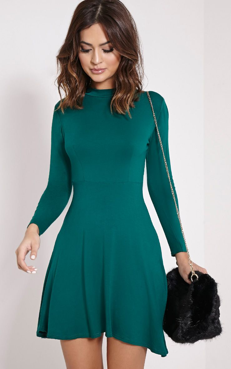 Una Bottle Green High Neck Long Sleeve Skater Dress 1