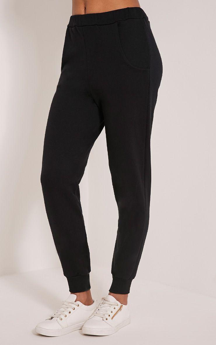 Ellia Black Basic Joggers - Trousers