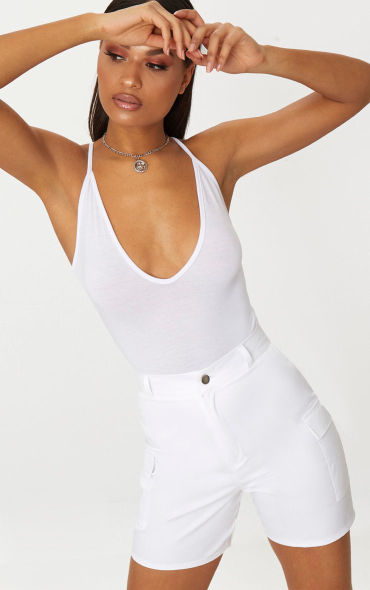 White Cargo Pocket Shorts