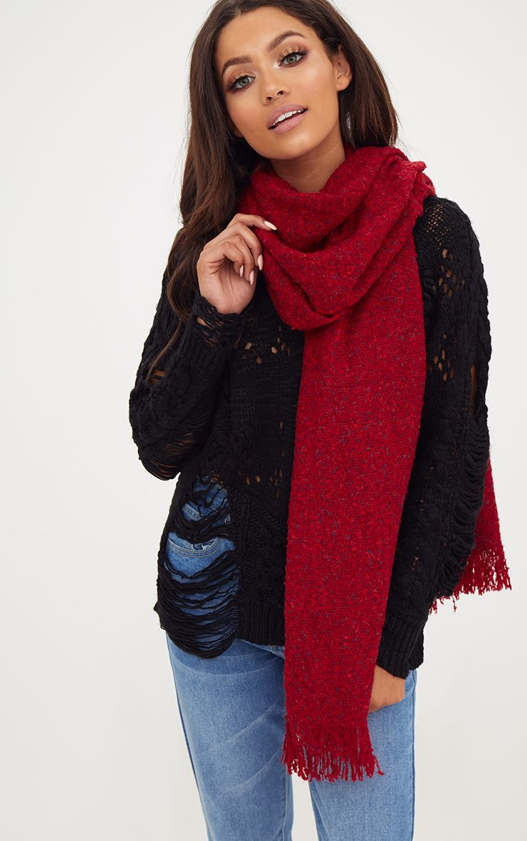 Red Long Fringed Scarf 1