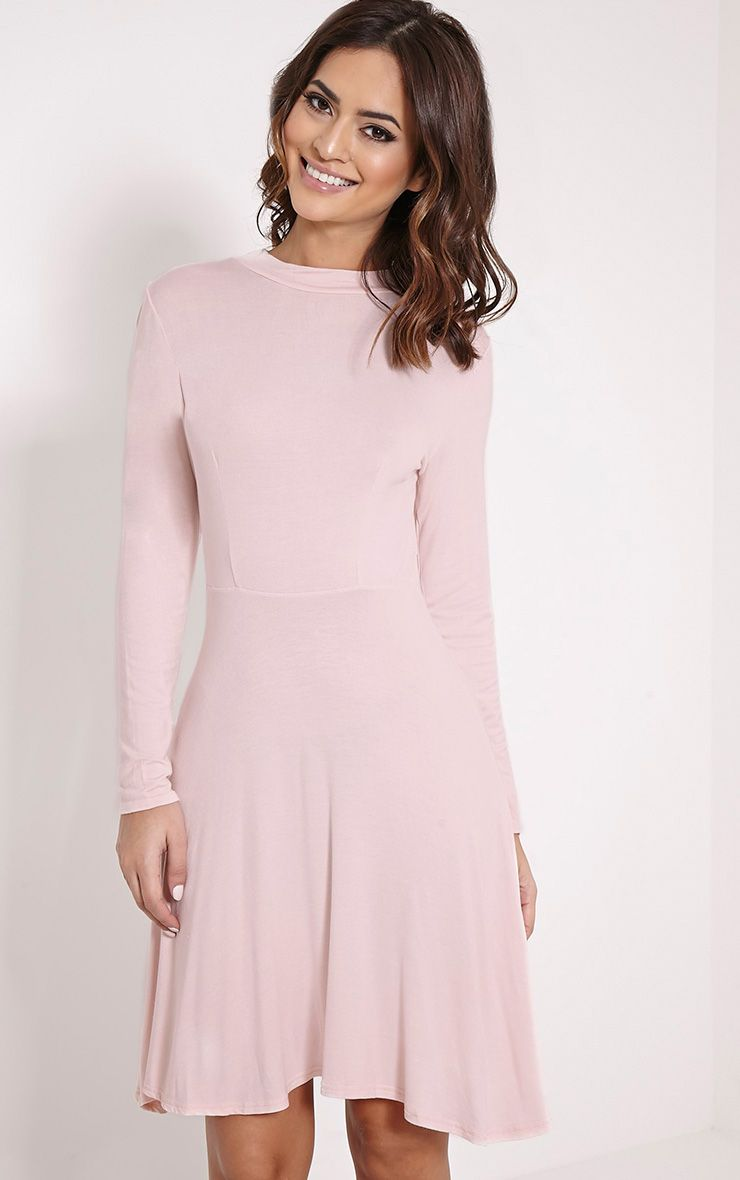 Una Blush High Neck Long Sleeve Skater Dress 1