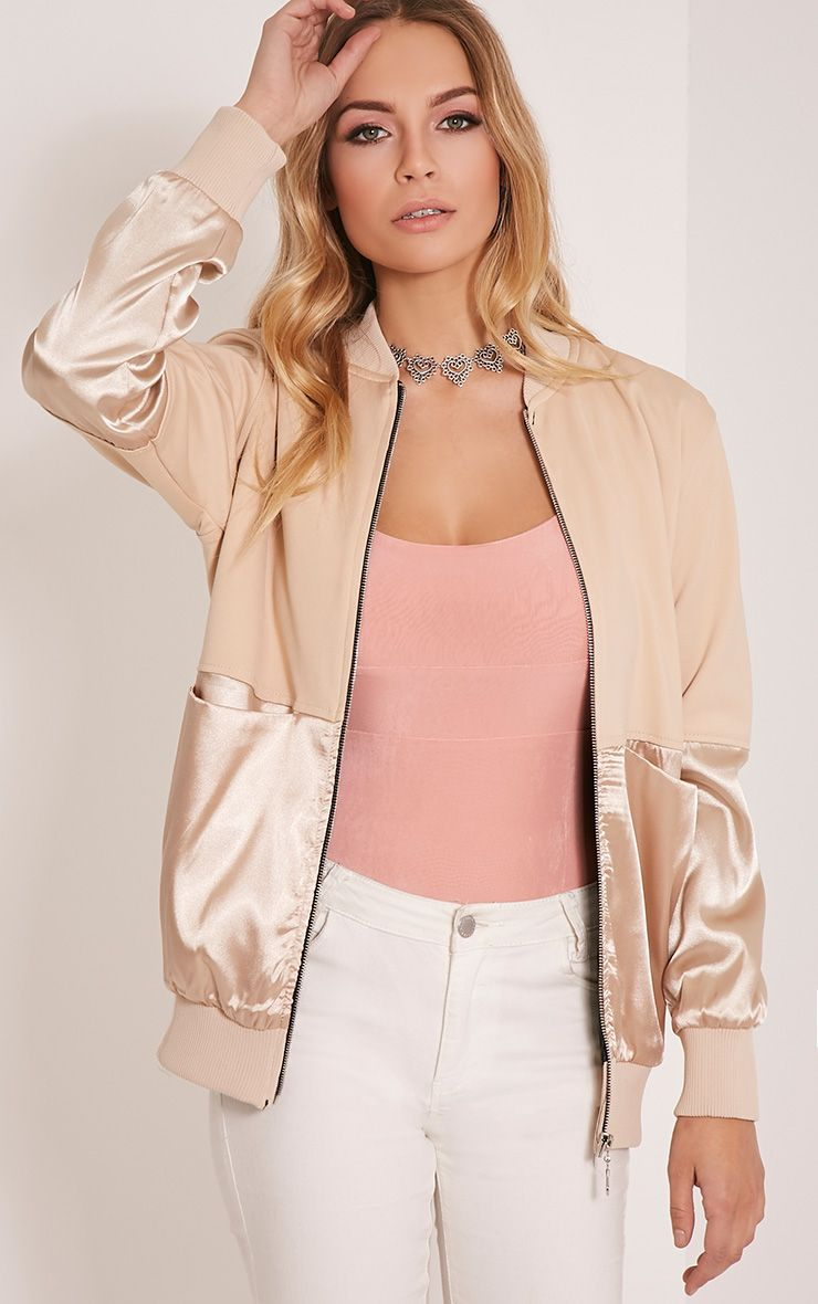 Eva Stone Satin Panel Scuba Bomber Jacket