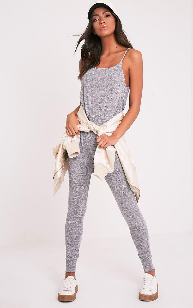 Saria Grey Marl Strappy Jumpsuit 1