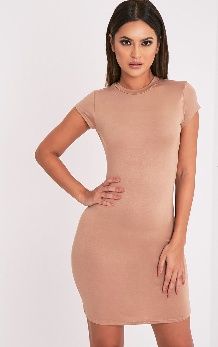 Tori Camel Short Sleeve Bodycon Dress 1