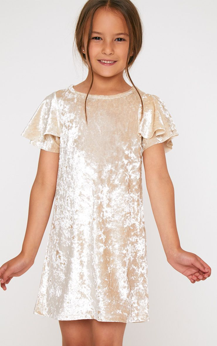 Champagne Velvet Ruffle Sleeve Dress