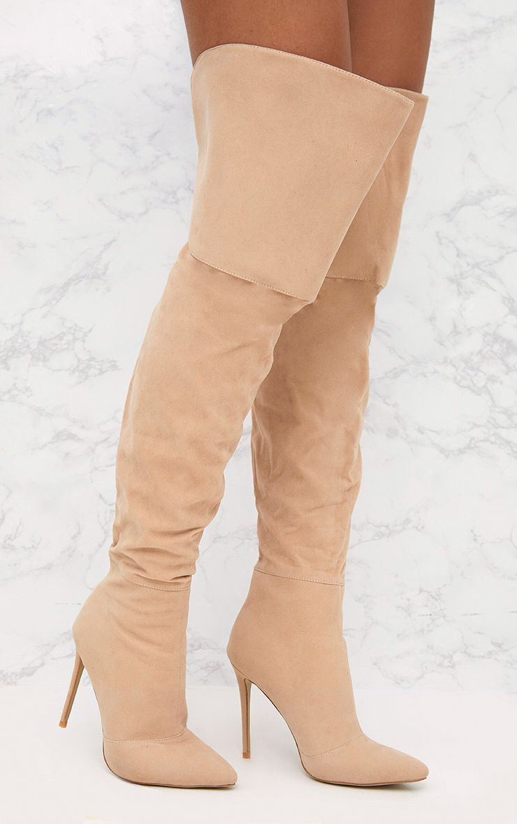 Nude Faux Suede Thigh High Heeled Boots