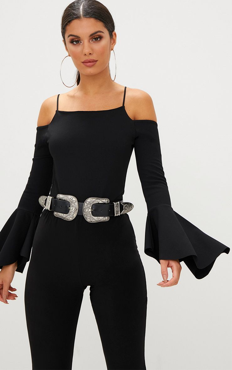 Black Flute Sleeve Cold Shoulder Thong Bodysuit Pretty Little Thing Buy Cheap The Cheapest T8JB8i