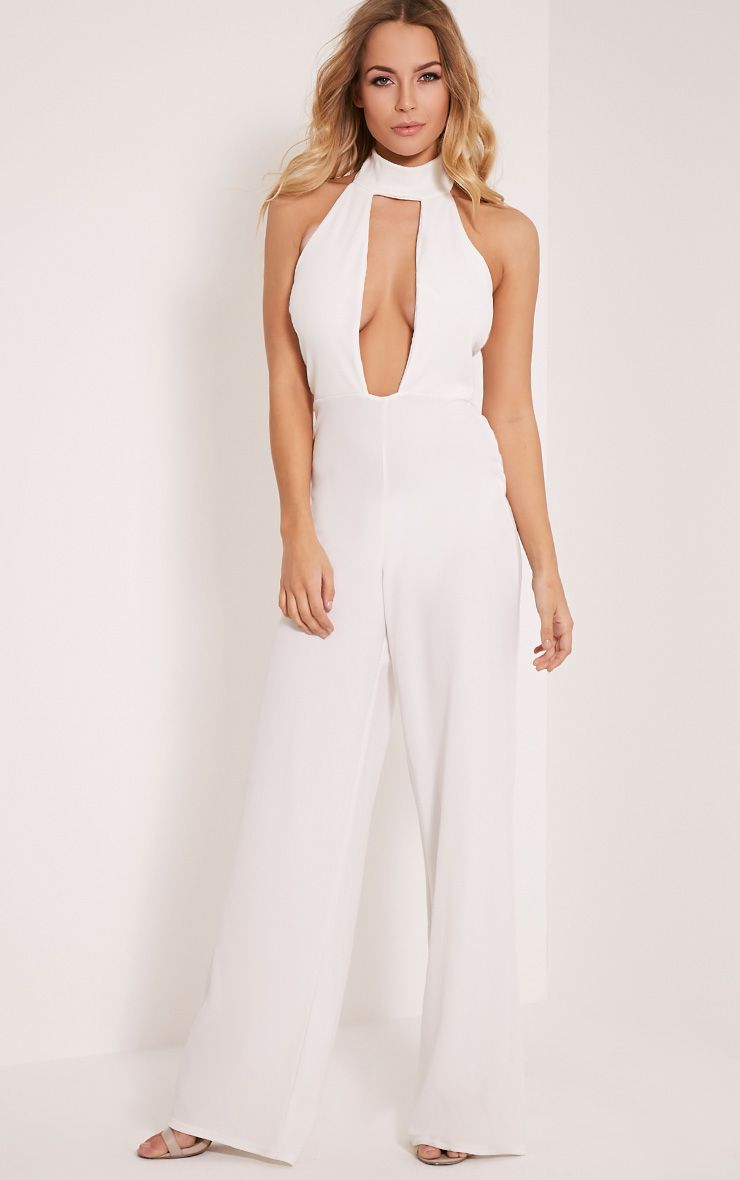 Farah White Neck Detail Extreme Plunge Jumpsuit White