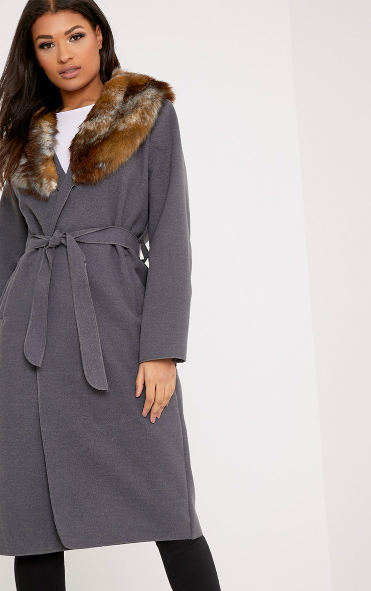 Eira Grey Faux Fur Collar Oversized Belt Coat