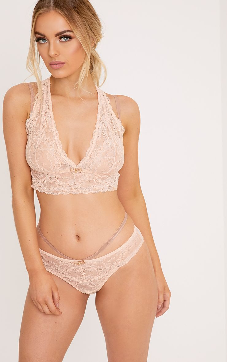 Leona Harness Strap Detail Blush Lingerie Set