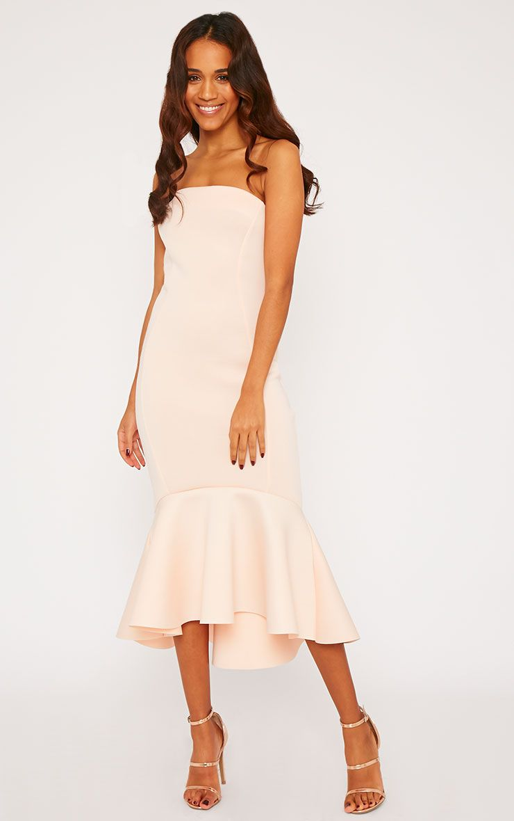 Aisha Nude Bandeau Fish Tail Dress 1