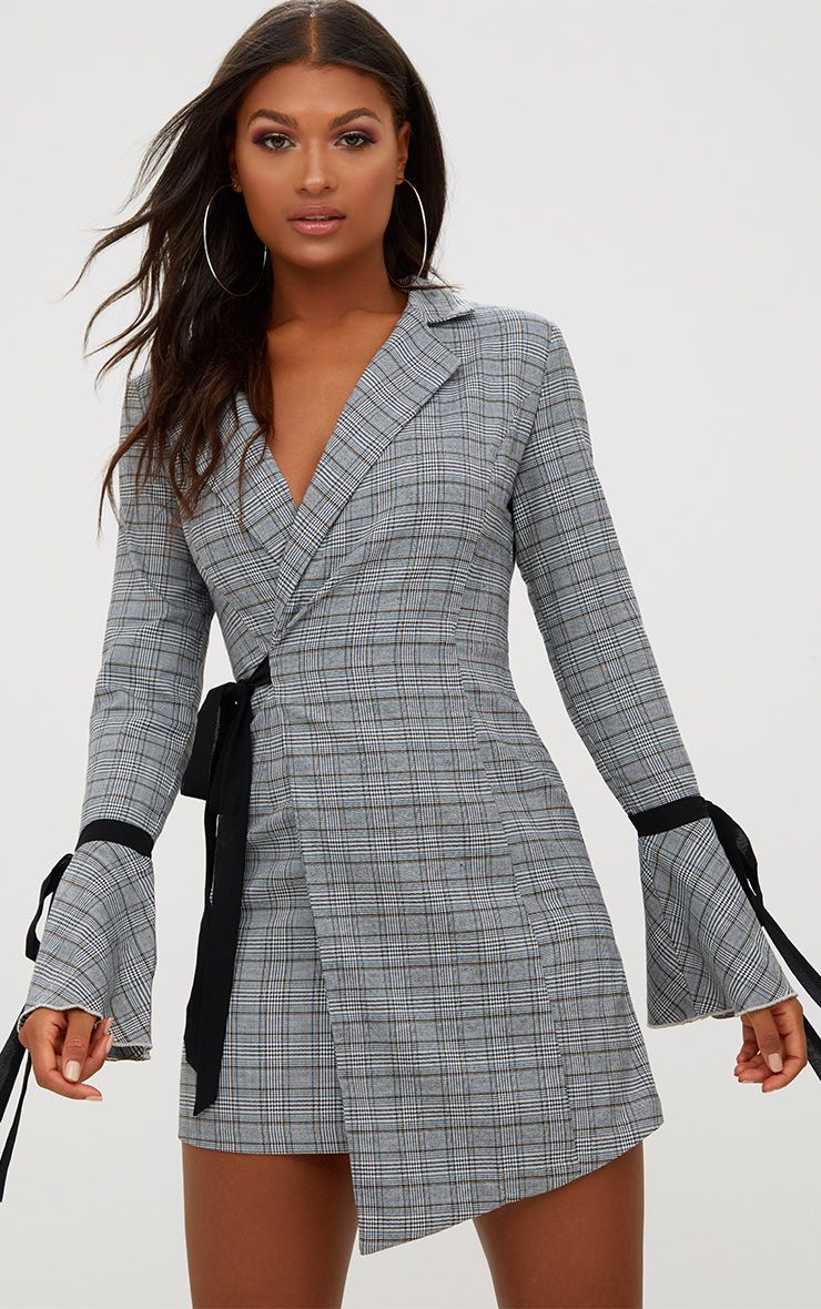 Grey Checkered Tie Sleeve Bodycon Dress