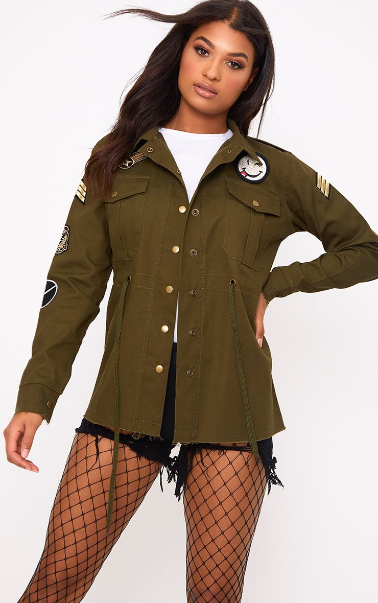 Khaki Badge Detail Utility Jacket
