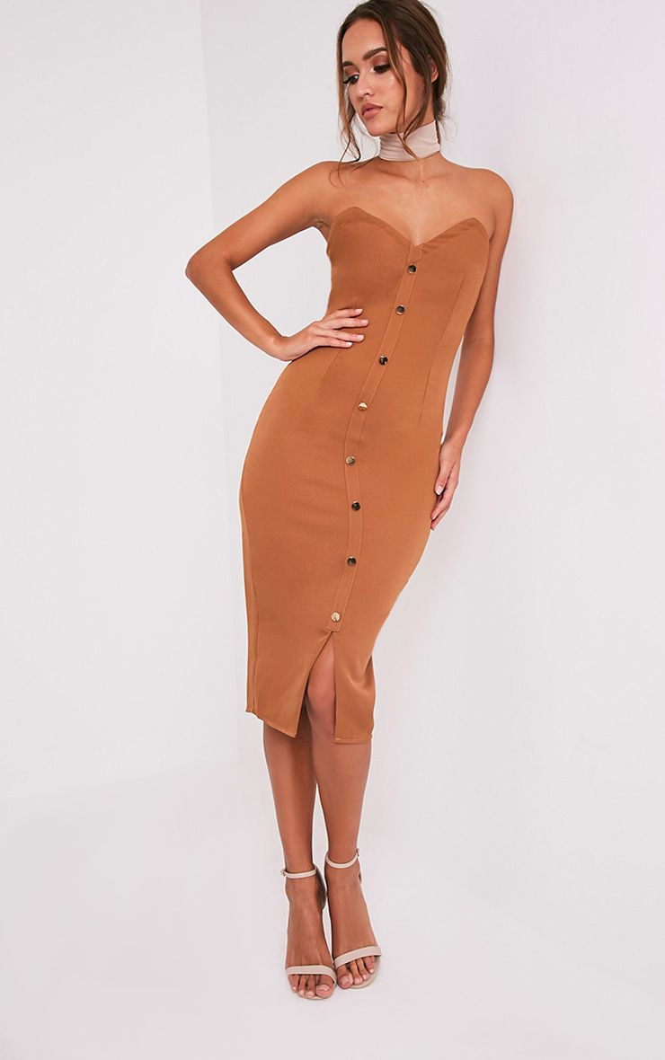 Casara Camel Button Detail Bandeau Midi Dress