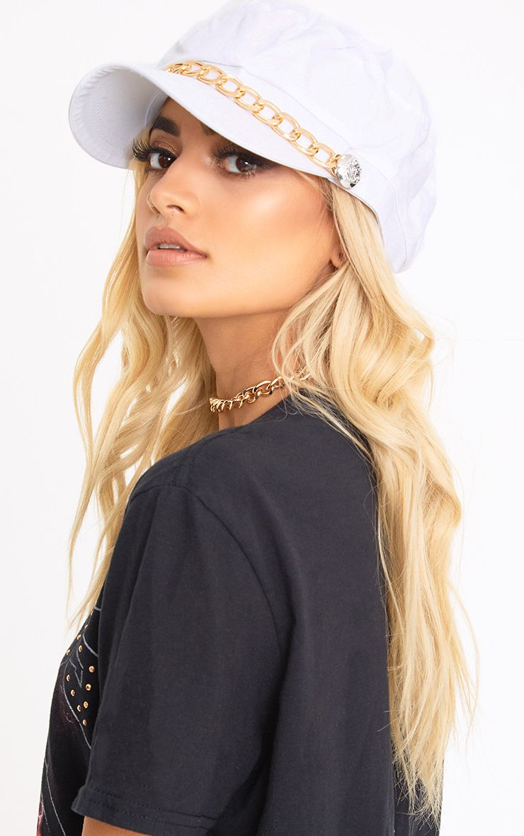 White Chain Baker Boy Hat