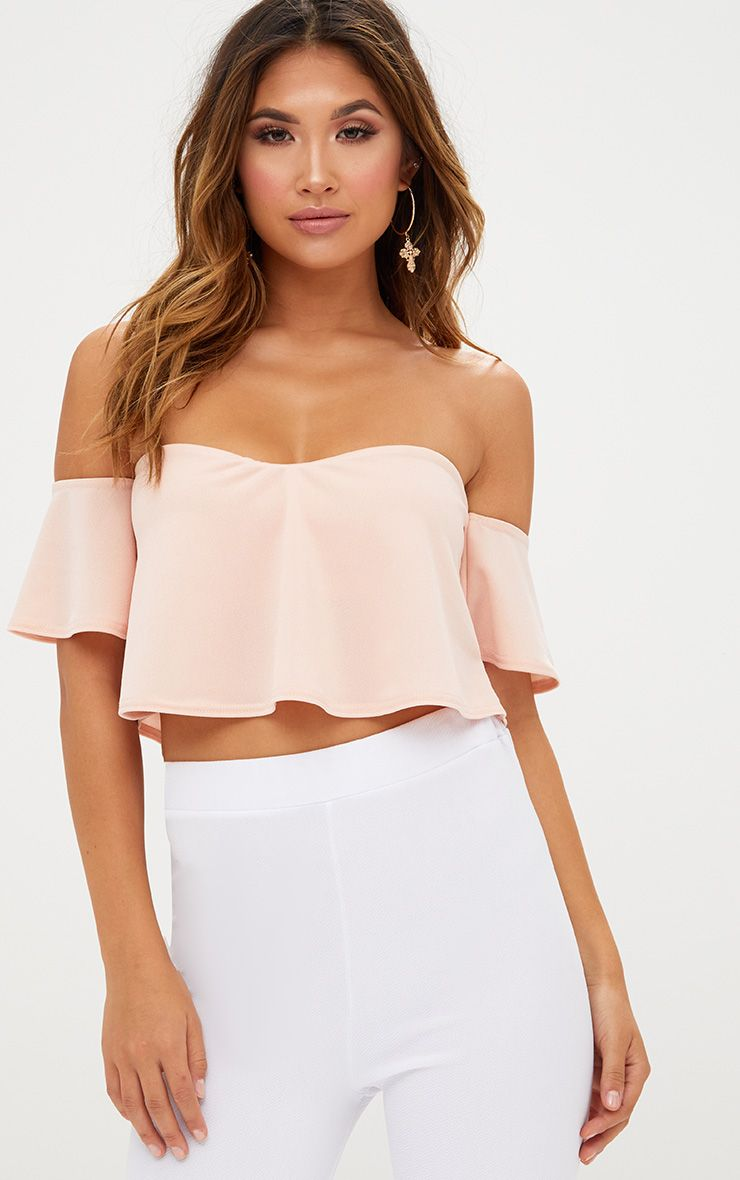 Blush Bardot Sweetheart Neckline Crop Top
