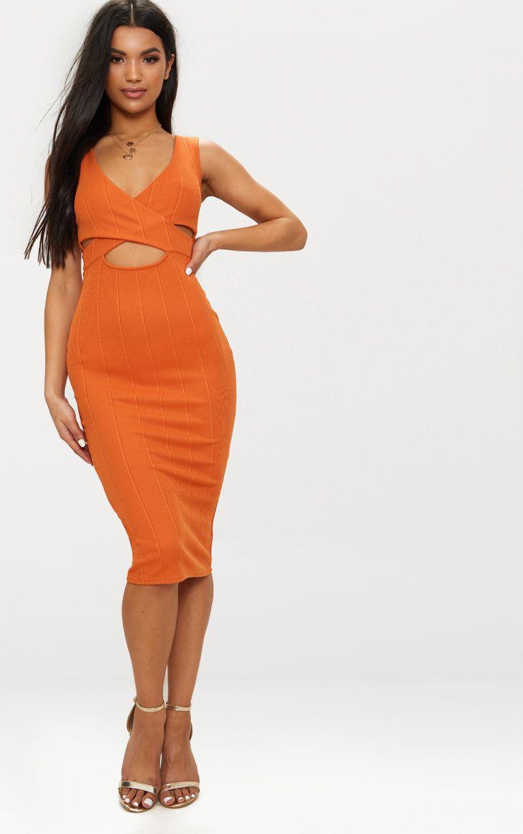 Burnt Orange Bandage Cross Over Detail Midi Dress