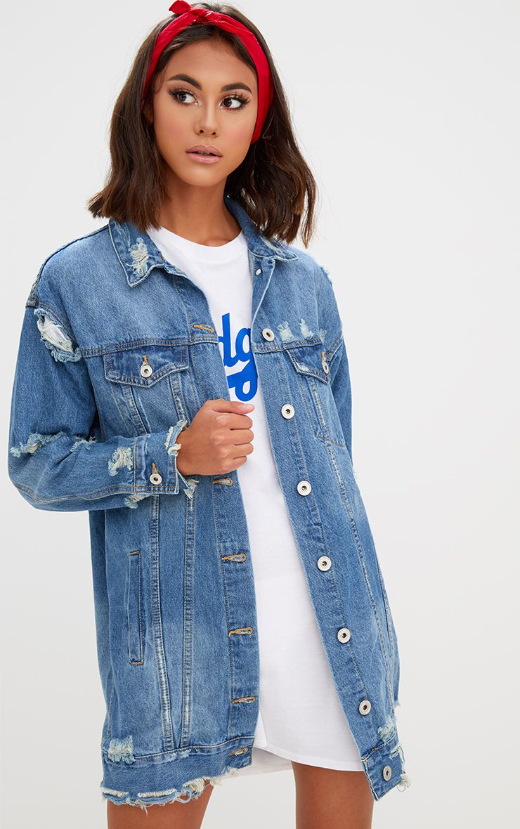 Mid Wash Longline Distressed Denim Jacket 1