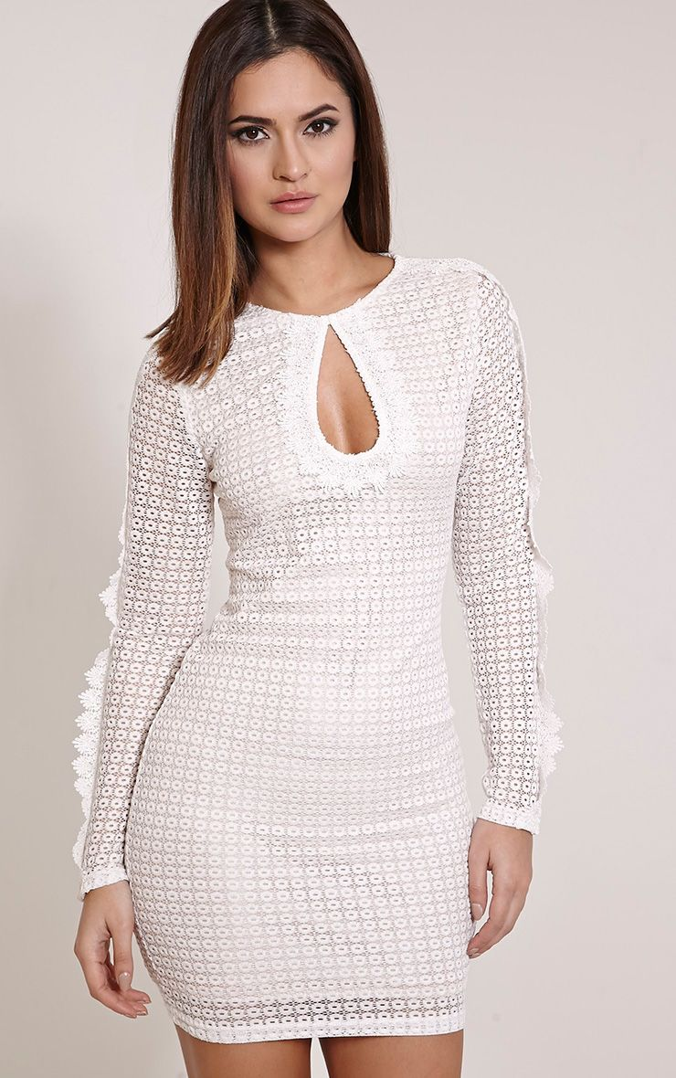 Giselle Cream Crochet Lace Bodycon Dress 1