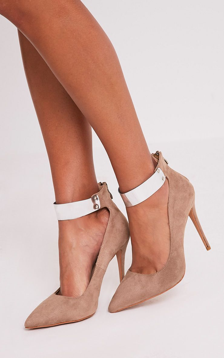 Daphnie Taupe Faux Suede Metal Cuff Heels 1