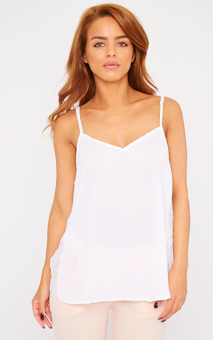 Nadiya White Lace Insert Swing Cami  1