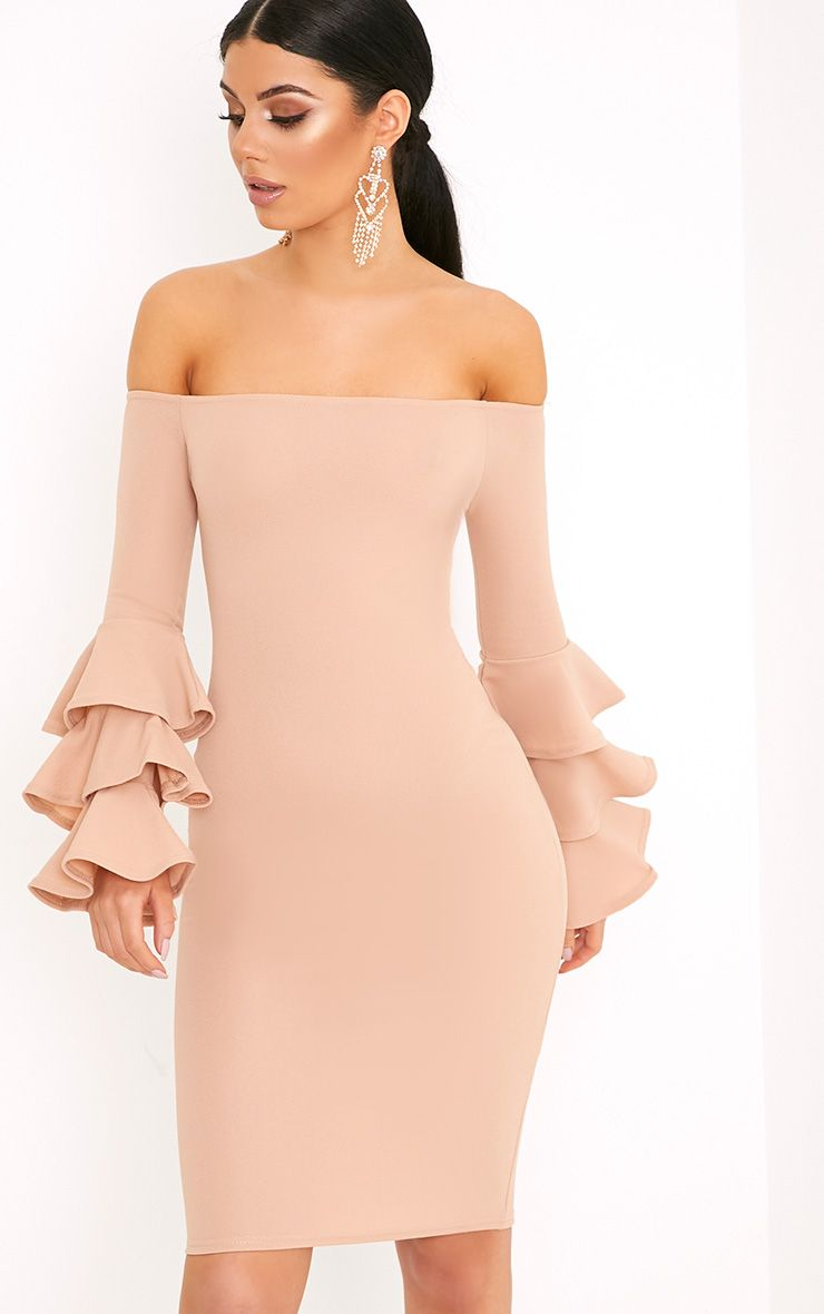 Aniaa Nude Bardot Ruffle Sleeve Midi Dress