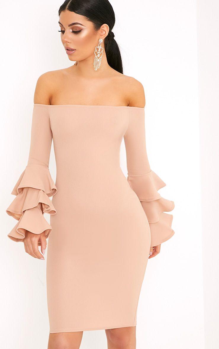 Aniaa Nude Bardot Ruffle Sleeve Midi Dress