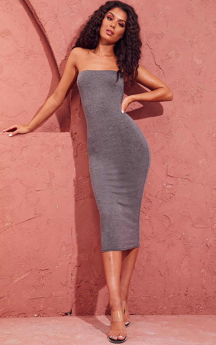 Basic Charcoal Grey Bandeau Midaxi Dress