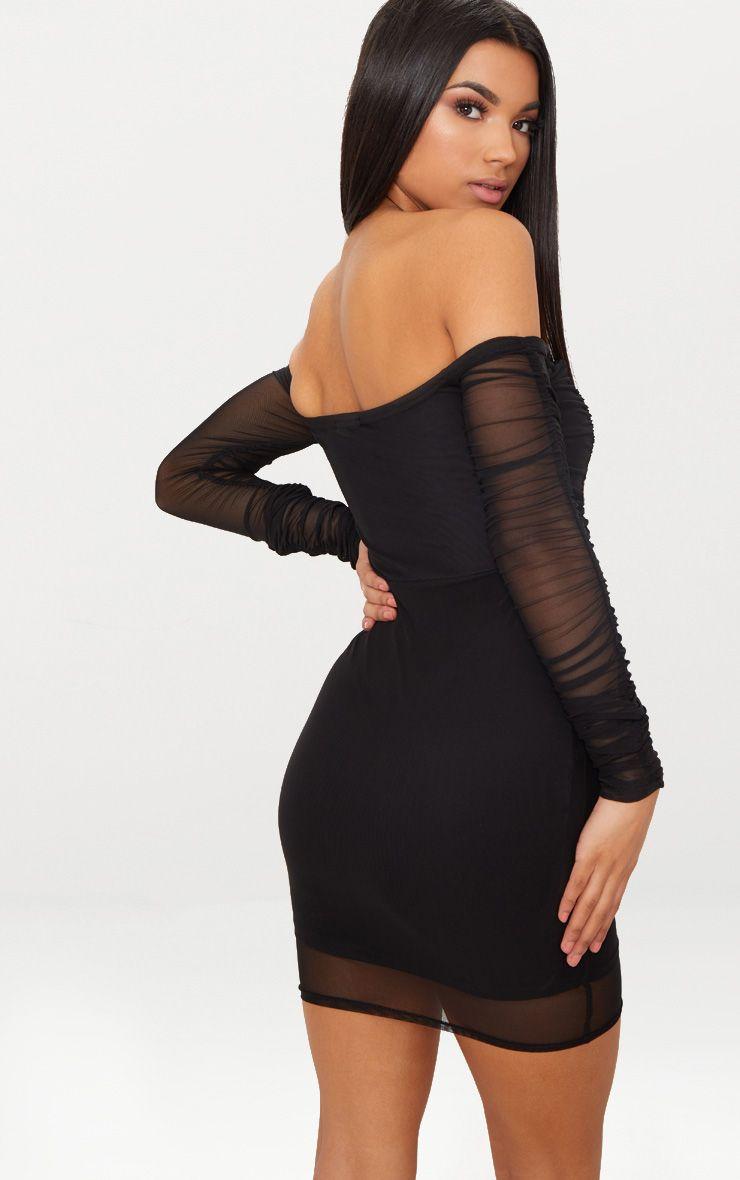 Black Ruched Mesh Bardot Bodycon Dress Prettylittlething Ie