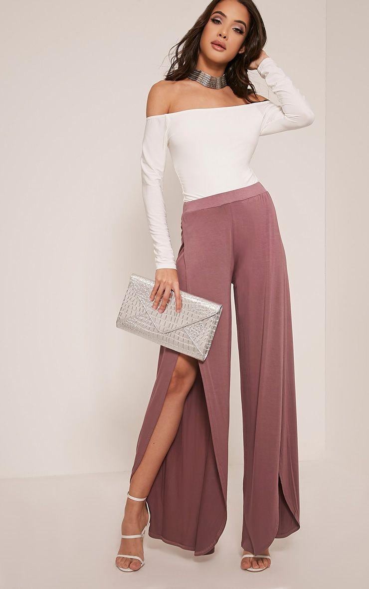 Mona Mauve Split Jersey Trousers 1