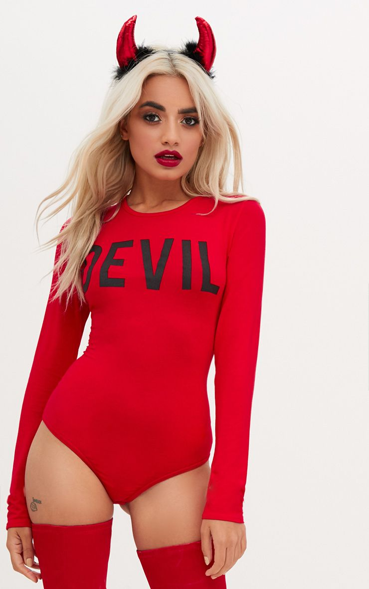 Red Devil Slogan Jersey Thong Bodysuit
