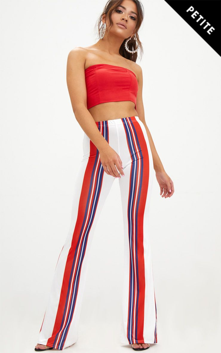 Petite Red Slinky Stripe Flared Trousers