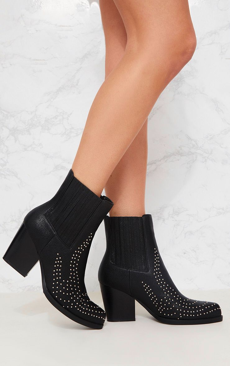 Black Studded Western Boot